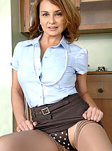 Denim Skirts, Busty cougar Rebecca Bardoux makes her finger moist and slides it in her hot pussy