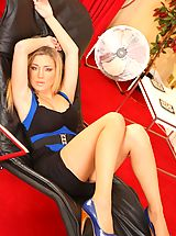 Heel Crush, Delightful blonde Tindra relaxes in her tight minidress.