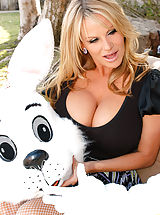 Busty Secretary, Kelly and Ryan trick Krissy into fucking the Easter bunny outside.