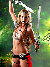 Sexy Secretary, Sexy topless blonde amazon babe posing with two swords and masturbates