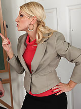 Busty Secretary, Hot cougar teacher loves to seduce her big cocked students so they fuck her rough.