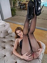 Stiletto Heels, Hot Clit Pics, Photo Set No. #1486 Au Naturel Horny Skank Ashley Lane exposes her own massive bust and uncovers those solid slit