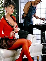 A big-breasted, beautiful desperate housewife Andrea fucks an Italian very well-endowed plumber stud!