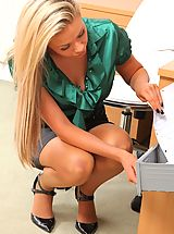 Hot Legs, Beautiful blonde secretary teases her way out of her silk blouse and tight pencil skirt.
