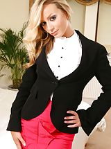 Only Tease Pics: Secretary Alana looks amazing dressed in a black jacket and pink miniskirt after work. Non Nude