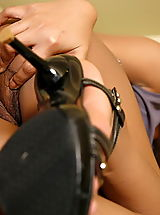 Blue High Heels, Asian Women susie fei 06 hairy secretary