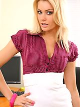 Sexy Legs, Blonde looks stunning in her office wearing a tight blouse and a tight long white skirt.