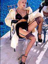 High Heel Mules, Black stockings and a bad attitude, Pamela is a foot worshiper's feast.
