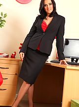 Naughty Office, Abbie teases her way from office outfit with red and black suspenders