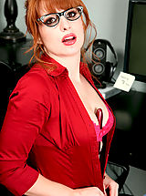 Classy Legs, Striking red head Amber Dawn shows us her new red lingerie