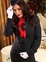 Open Legs, Gorgeous dark haired air hostess teases in her tight skirt suit before stripping down to her panties