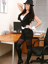Only Tease Pics: Glorious secretary in tight top and shorts.