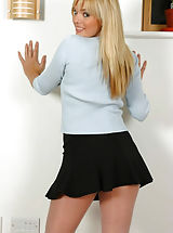Sexy blonde Molly in pantyhose