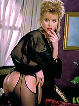 french lingerie, Beautiful blonde Brittany Shaw gets cumfy cozy on a silk bed in sexy black crotchless stockings.
