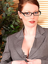 Sexy Secretary, Underneath her business suit Holly Kiss hides her naughty side