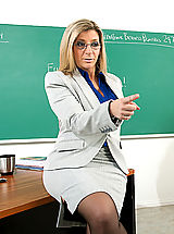 Hot Legs, Sara Jay shows her student what it's like to fuck a teacher with huge tits.