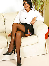 White Heels, Sultry Sophie in secretary outfit with black stockings