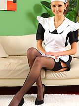 see this cheeky maid tease her way out of her uniform