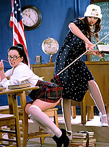 Sapphic Erotica Pics: Naughty Drew taunts her titillating teacher Stacy Moran for a spanking and so much more!
