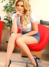 Red High Heels, Only Secretaries, Short skirt and tan stockings are flashed in this wonderful secretary set from Porchia