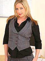 Sexy Secretary, Beautiful blonde Nikki strips out of her black blouse and grey hotpants.